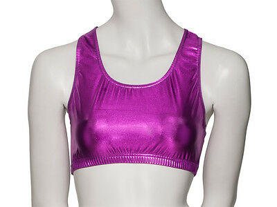 Ladies Girls Shiny Metallic Dance Racer Back Crop Top KCTM-5 By Katz All Colours