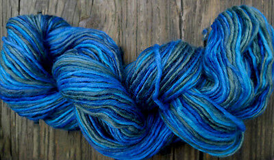 Pure wool yarn worsted weight,  blue, green and turquoise