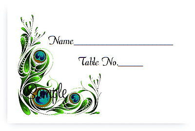 100 Personalized Custom Peacock Bridal Wedding Place Cards Tent Fold