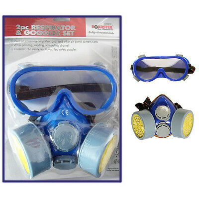 Respirator Dust Face Mask Goggles Protect 2pc Dual Cartridge Industrial Safety