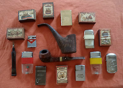 LOT VINTAGE PIPES, LIGHTERS, MATCH BOXES ESTATE BOX