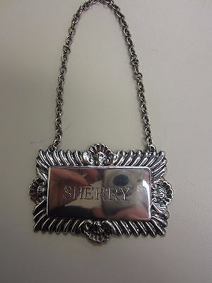 """Sherry"" Liquor Decanter Tag On Chain-Sterling Silver"