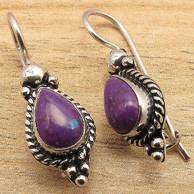 PURPLE COPPER TURQUOISE Gems Ethnic Tribal Jewelry Earrings ! 925 Silver Plated