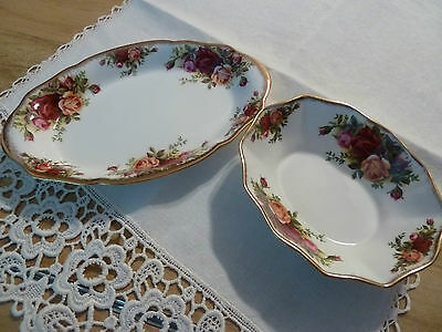 ROYAL ALBERT Bone China OLD COUNTRY ROSES Set of 2 Tray & Oval Dish England