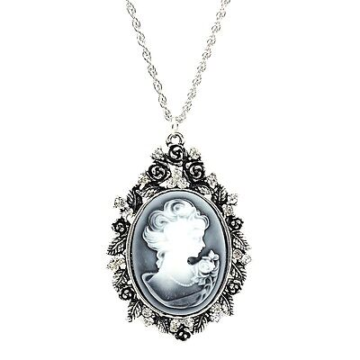 """Vintage Jewelry Antique Silver Plated Lady Queen Cameo Oval Pendant Necklace 28"""""""