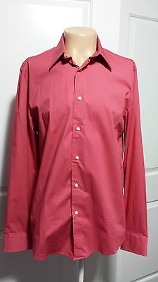 New WT Authentic Express Men Coral Pink Long Sleeve Full Button Shirt Sz L