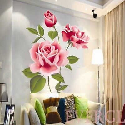 3D ROMANTIC Love Rose Flower Removable PVC Wall Sticker Home decor Decals