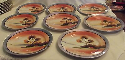 VINTAGE CHIKARAMACHI JAPAN/JAPANESE HAND PAINTED PLATES Orange And Blue  x 8