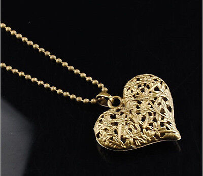 Korean Elegant Retro Hollow Carved Gold Color Heart long sweater chain necklace