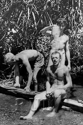 WW2 Vintage Photo 1940's Nude Men US Army Soldiers Washing gay interest 0165