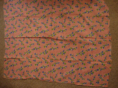 "Vintage Full Feed Sack Bubblegum Pink Blue/Green Ivy 43""x36"" Old Quilt Fabric"