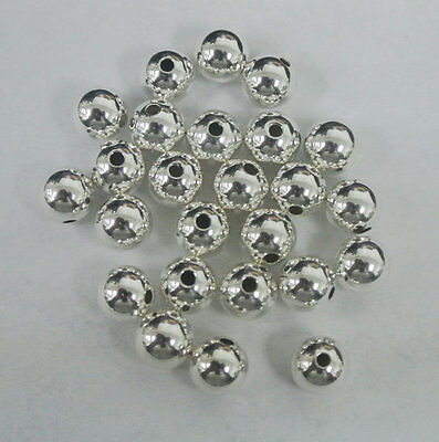 7mm Sterling Silver Beads, Round Seamless 925 Silver Beads, 10 PCS, 7 mm round