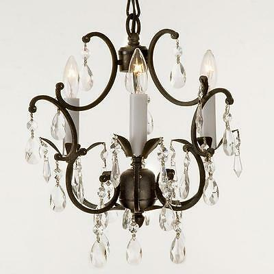Wrought Iron Crystal Chandelier light Lighting Country French swag kit w plugin