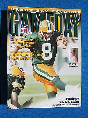 Gameday Green Bay Packers Miami Dolphins August 25 2001 Lambeau Program