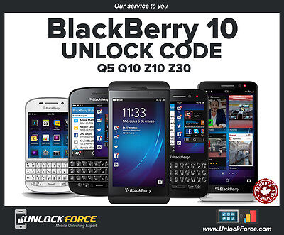 Unlock Code Rogers Fido Blackberry BB10 Q5 Q10 Z10 Z30 Passport Priv