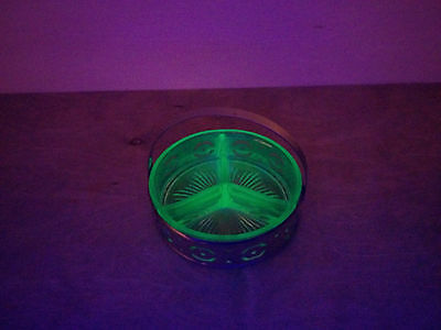 Depression era Green Vaseline Glass Divided dish with metal carrier