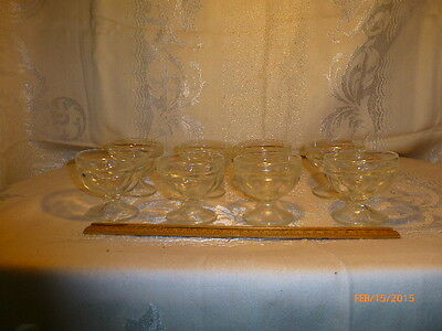 VINTAGE SUNDAE BOWLS LOT OF  8 CLEAR GLASS DESSERT CUPS ICE CREAM PUDDING CUP