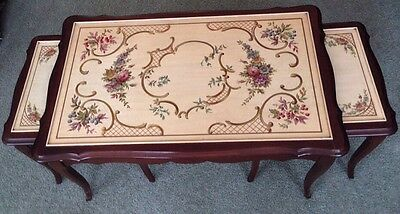 NR!! Set Of 3 Vintage Hand Painted French Provincial Nesting Tables