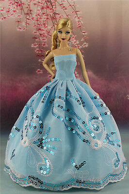 Blue Fashion Party Sequin Dress/Evening Clothes/Gown For Barbie Doll S196P1