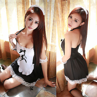 Set Costume Completino Cameriera Maid Serva Cosplay Sexy Lingerie Con Calze