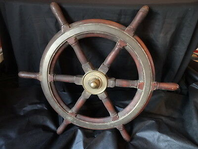 Nautical Maritime Antique Victorian Ships Wheel Brass Bound Mahogany Mancave