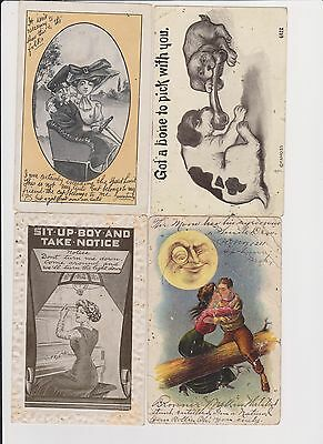 Lot of 4 vintage comic postcards early 1900s cars big hats dogs romance moon