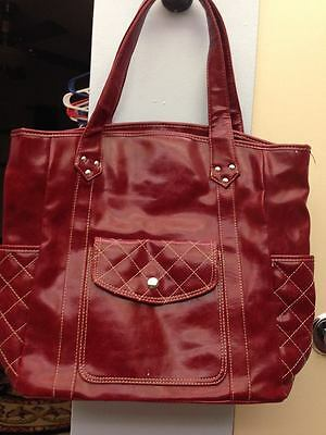 New ~ Faux Leather, Large, Dark Red Purse / Tote ~11 1/2 x 13 In.