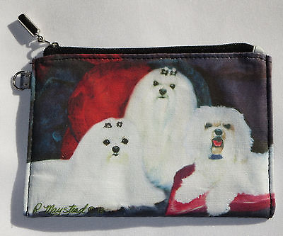 Maltese Dogs Coin Purse Makeup Zippered Pouch Fully Lined White Beautiful Puppy