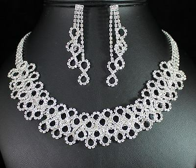 INFINITY CLEAR AUSTRIAN RHINESTONE CRYSTAL NECKLACE EARRINGS SET BRIDAL N1390