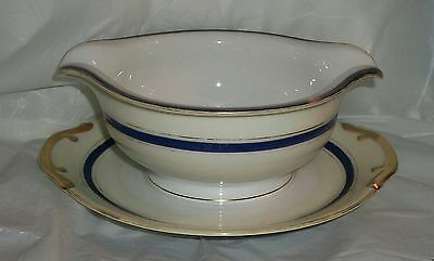 MEITO HAND PAINTED GRAVY BOAT ON ATTACHED BASE BLUE GOLD JAPAN