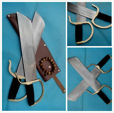WING CHUN Bart Cham Dao Damascus steel blade hand-made Brown Leather Scabbard