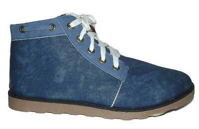 NEW Blue Lace up Canvas Sneakers CASUAL FASHION ANKLE Boots MENS SHOES Size 8.5