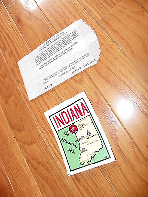 "VINTAGE INDIANA ""THE HOOSIER STATE"" STICKER DECAL TRANSFER"