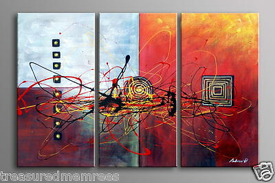 "Large 3 Piece Original Modern Contemporary Abstract Canvas Painting ~ 20"" X 60"""