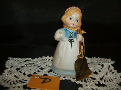 ADORABELLES Girl with a Broom BISQUE FIGURINE BELL New Old Stock D