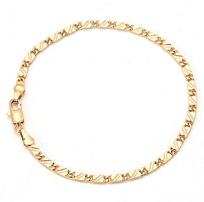 Elegant 18K Solid Yellow Gold Filled GF Bracelet Chain For Man As Gifts B126