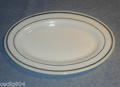 VINTAGE  FIRE KING MILK GLASS RESTAURANT STYLE OVAL DINNER PLATE WITH GREEN STR