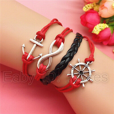 Charm NEW hot Fashion Jewelry Anchor Ship Leather Cute Bracelet Silver RED C125