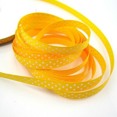 """20 Yards 3/8"""" 9mm yellow Point Printed Cute Grosgrain Ribbon for craft making"""