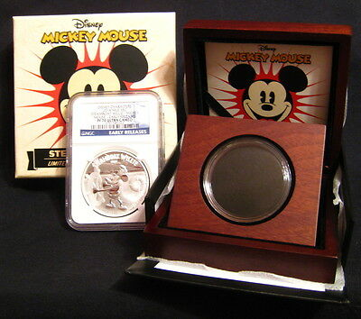 2014 NIUE $2  STEAMBOAT WILLIE - MICKEY MOUSE NGC PF70 UC ER Disney W/OGP ~~