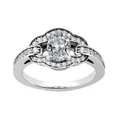 Ladies' White Gold 1.87 ct. TW Oval Shaped Diamond Engagement Ring in Platinum