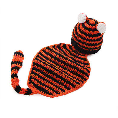 Baby Newborn Infant Tiger Knitted Costume Photo Photography Prop Hats 55*22cm
