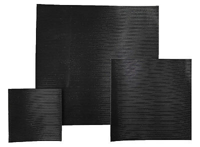 Black Fine Ribbed/Fluted Rubber Matting 3Mm & 6Mm Thick Anti Slip Various Sizes