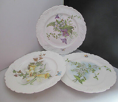 """COUVENT SAINTE BARBE FRENCH 1897 PORCELAIN HAND PAINTED FLORAL 3 x 8.5"""" PLATE"""