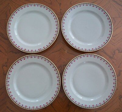 "4 Heinrich & Co Selb Bavaria China Plates 8-1/2"" Pink Roses Purple Black Gold"