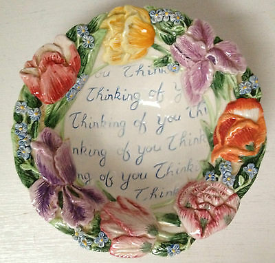 """FITZ & FLOYD ESSENTIALS FLORAL BOUQUET BOWL """"THINKING OF YOU"""""""