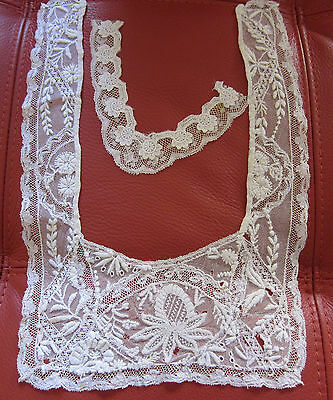 SET OF TWO FRENCH ANTIQUE HANDMADE EMBROIDERED LACE COLLARS - 19TH CENTURY