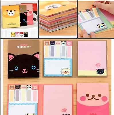 Animal Theme Cover Easy Sticky Notes Post-It Notes Bookmarks Stationery 4 Styles