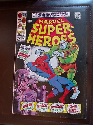 Marvel Super-Heroes 14 (May 1968) 25 cent squarebound comic Spider-man