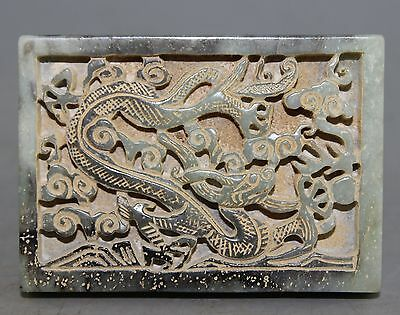 Ancient Chinese old hetian jade hand carved dragon jade pendant